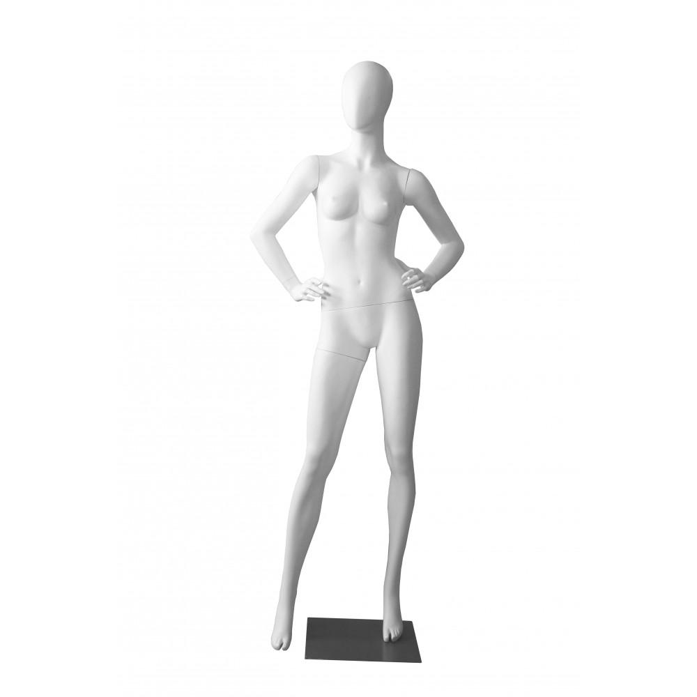 Манекен жіночий білий матовий безликий, LORA-6