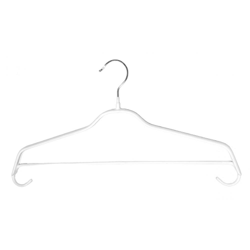 Плічки для одягу білі металеві з поперечиною (40 см), type 6Х