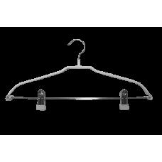 Плічки для одягу білі металеві з прищіпками (40 см), type 6ХХ