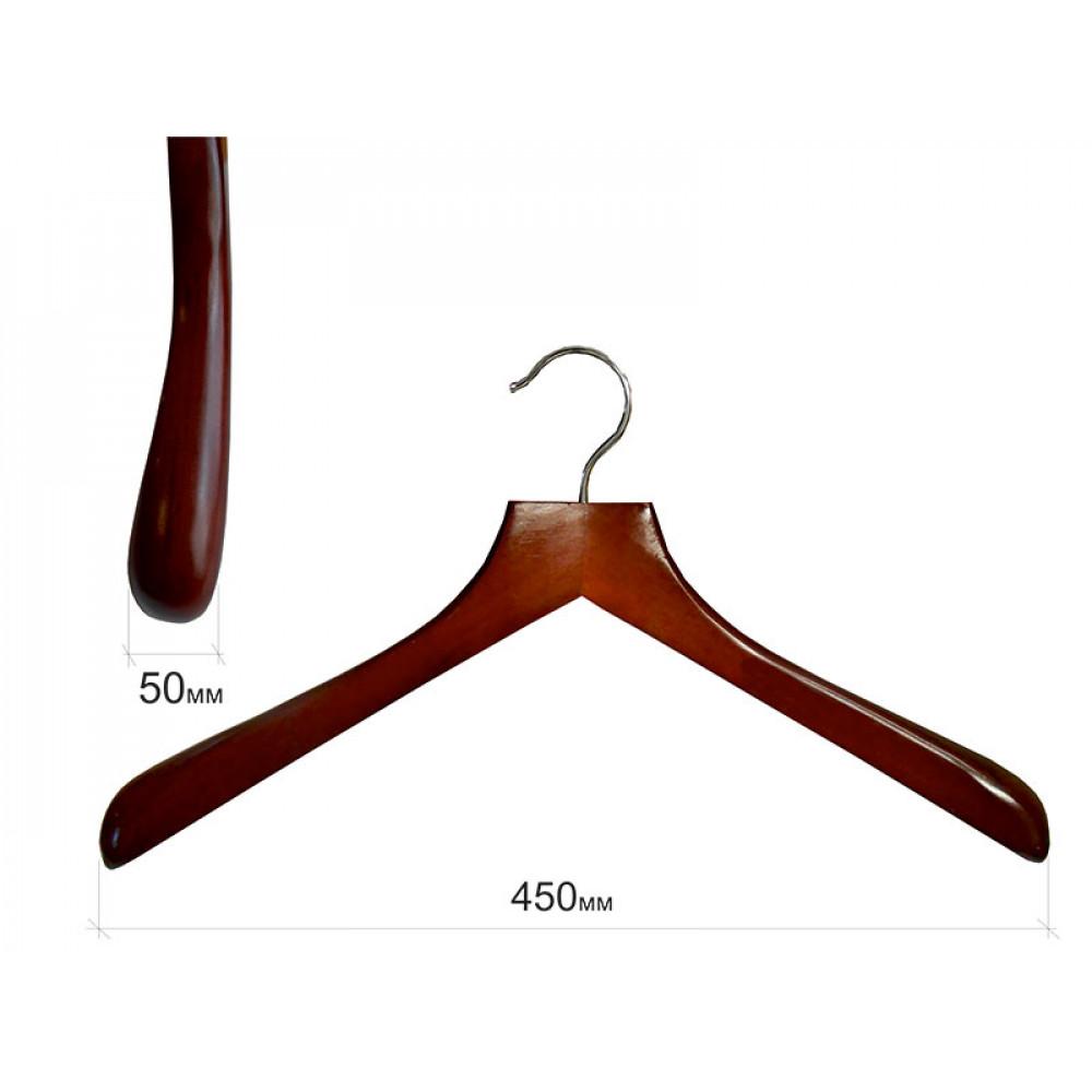 Плечики для одежды type Deluxe(махонь) с широкими плечиками без перекладины