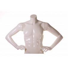 Мужской торс  T-SR17 (белый глянец) руки на талии