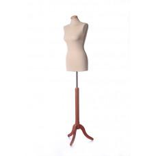 BSD/E Торс женский тканевый, телесный, с подставкой бук