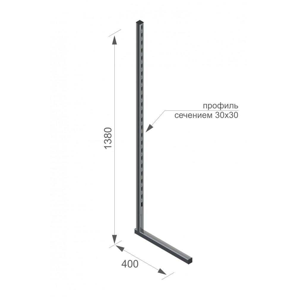 V5055 - стойка профиль односторонняя труба 30*30 хром