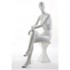LIZA-6 Манекен жіночий безликий, сидячий, білий глянець з рельєф. особою