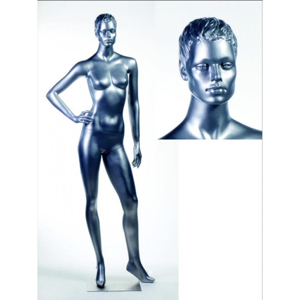 WK-4Zsilver / Mic Манекен жіночий сріблястий БЕЗ МАКІЯЖУ
