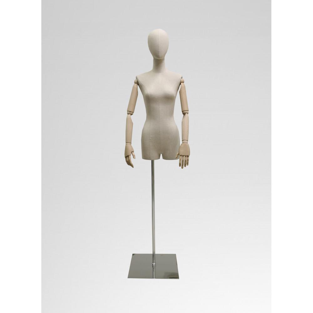 Торс F-1 женский тканевый с головой и деревянными руками (бук)