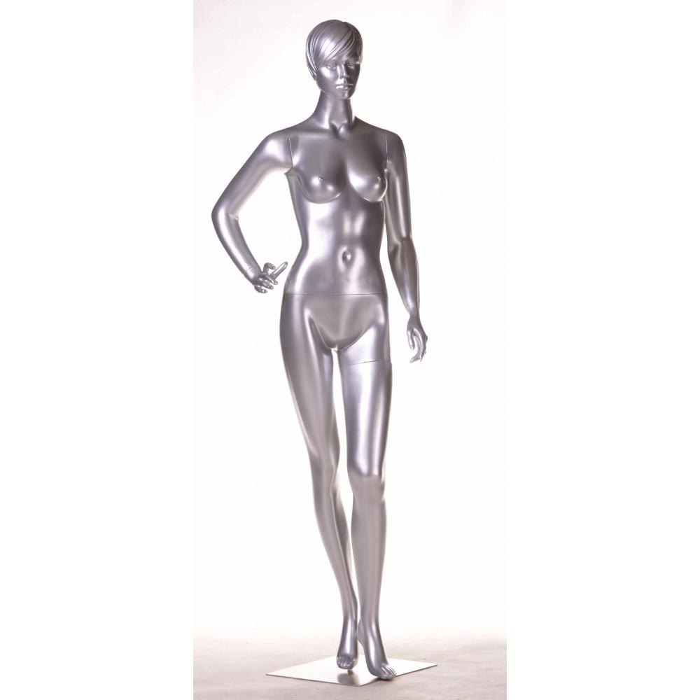 WK-4Zsilver/Dan Манекен женский серебристый  БЕЗ МАКИЯЖА