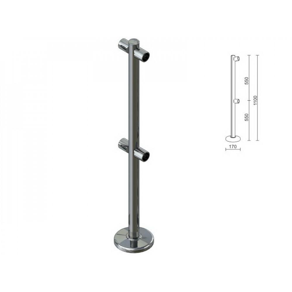 OG0551 Стойка для перегородок с двойным крепл. для 2-х труб dm40