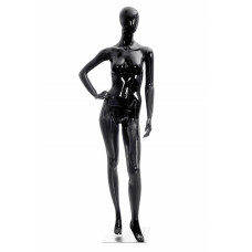 Манекен жіночий чорний глянець, безликий, KATE-01