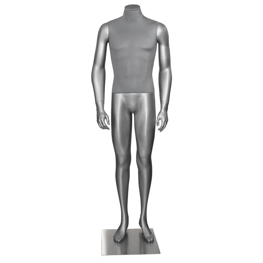 Манекен мужской без головы Н-166 (серебристый)