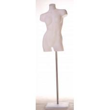 Торс жіночий вигнутий T-BR01 (білий незабарвлений) без п'єдесталу
