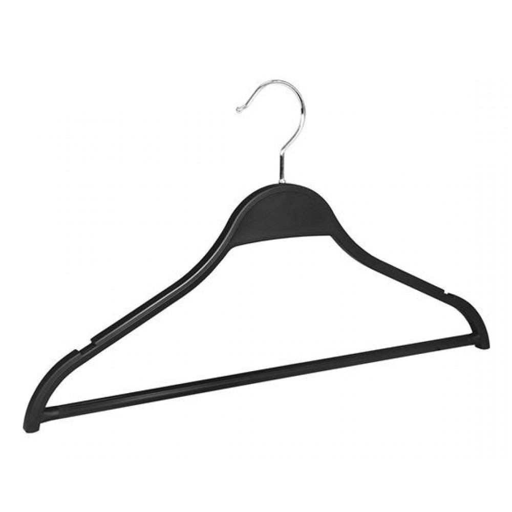 Вішаки для одягу пластикові з поперечиною чорні 455мм W-45,5 (006-10)
