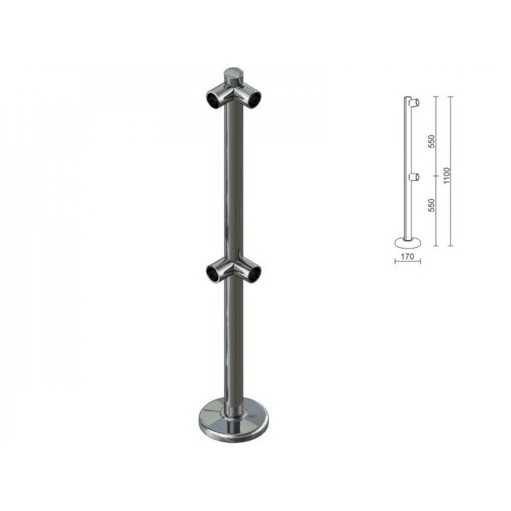 OG0554 Стойка для перегородок с двойным крепл. для 2-х труб под углом dm40