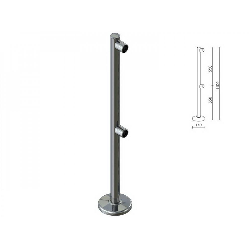 OG0550 Стойка для перегородок с двойным крепл. для труби dm40