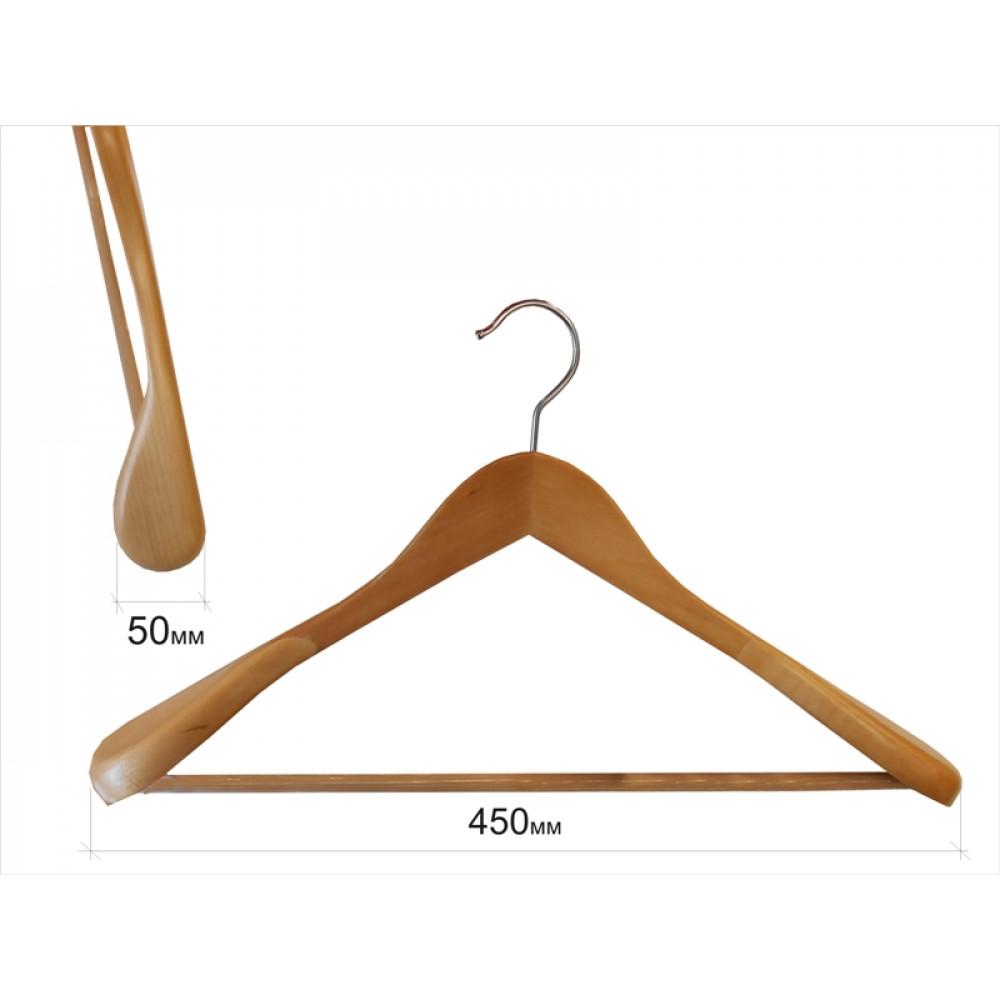 Плечики для одежды type 2В (бук) с широкими плечиками и перекладиной