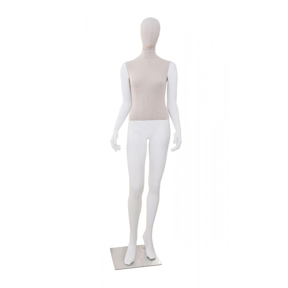 Манекен жіночий білий (голова і торс тканинні), GM-CH-696AB WN