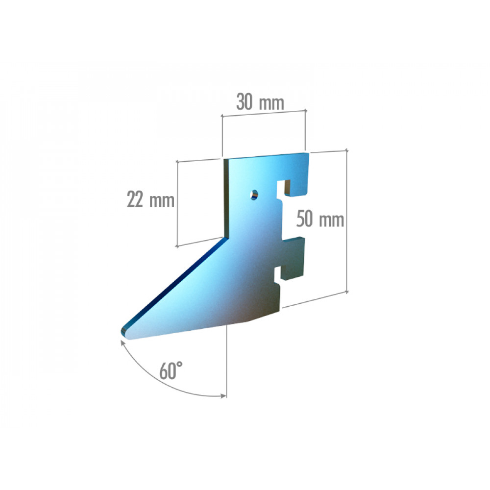 VRn 6042a Элемент крепления в профиль треугольный, 2 зацепа, нерж.