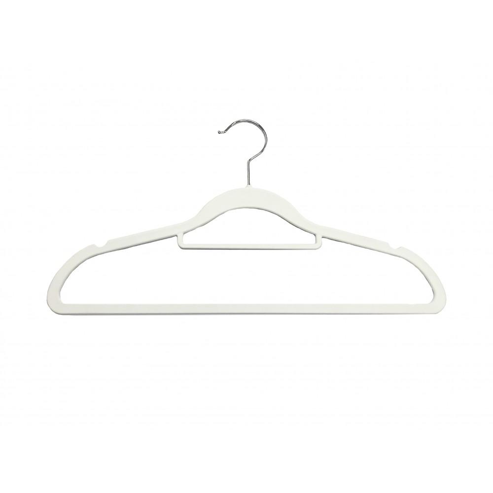 Вішак для одягу білий пластиковий з поперечиною W-42р (02-5)