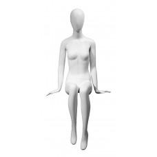GM-OM003 Манекен жіночий сидить матовий білий (тільки вуха)