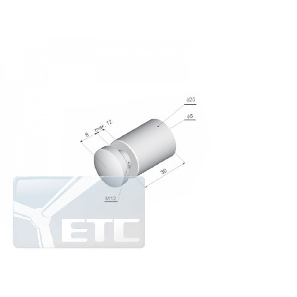 IN-33  Элемент крепления панели (d 25мм/M12мм) винтовое крепление