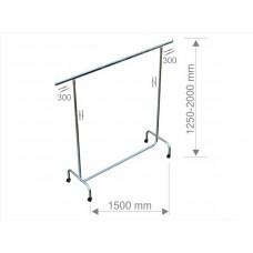 1002 R50  Вешалка одинарная 1500mm с регулировкой высоты