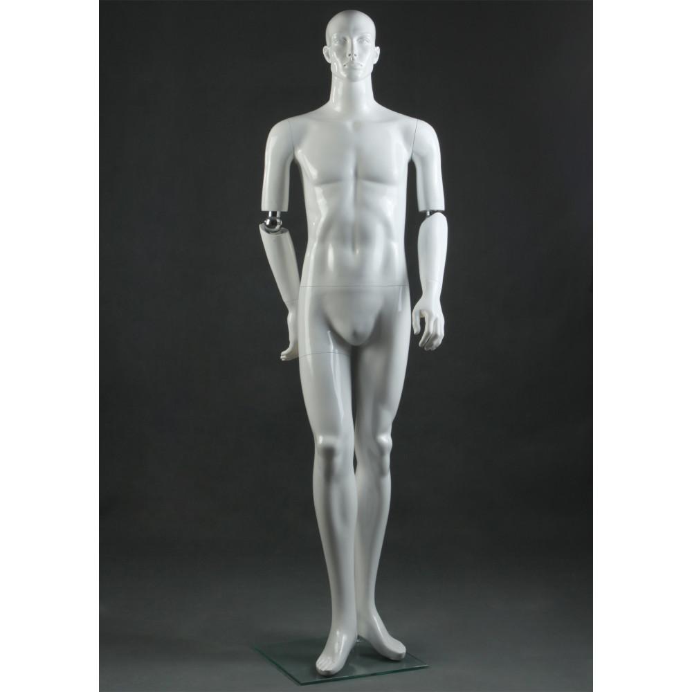 PAUL-11 Манекен чоловічий, руки на шарнірах, білий глянець