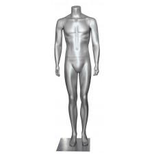 Манекен чоловічий срібний без голови, AY-10silver