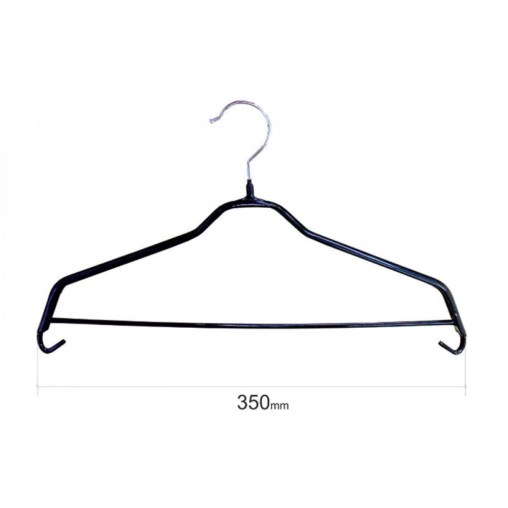 Плечики для одежды type 6Х метал. 35см (черная) с перекладиной