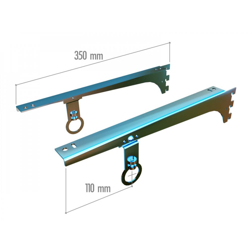 VR 6350a Кронштейны для полок 350мм под держатель для труб dm19,25 хром.(пара)