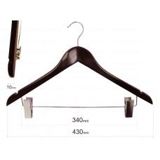 Вішаки для одягу дерев'яні з пріщіпкамі, махонь type 1ВZМ