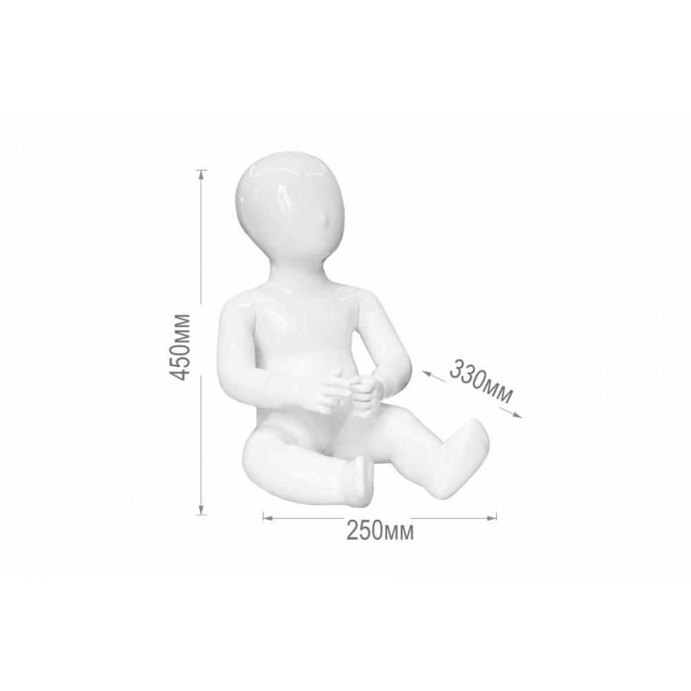 Манекен дитячий, білий глянець, сидячий, безликий, CHD-14