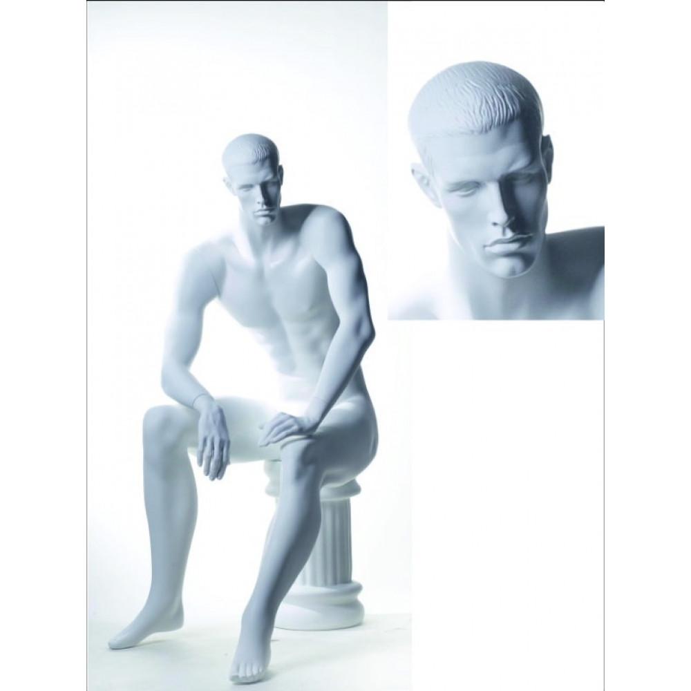 HE-016 Манекен мужской белый сидящий