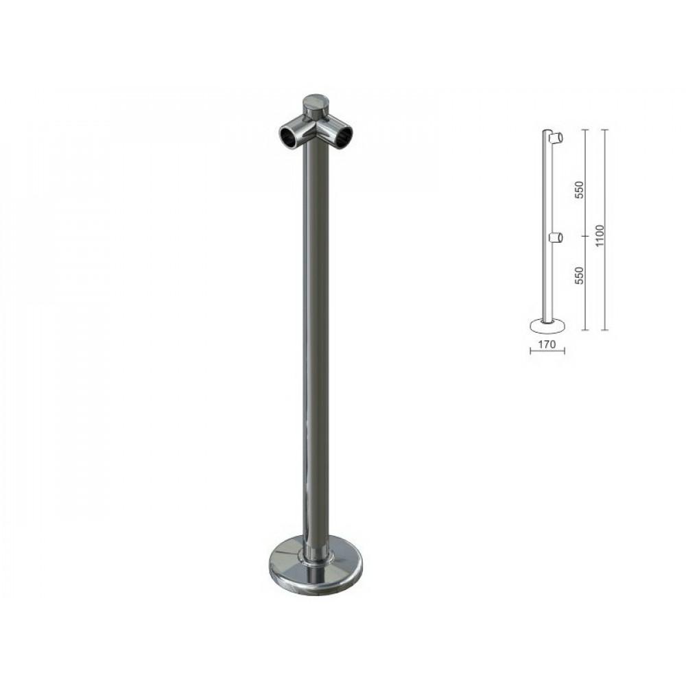 OG0544 Стойка для перегородок с крепл. для 2-х труб под углом dm40