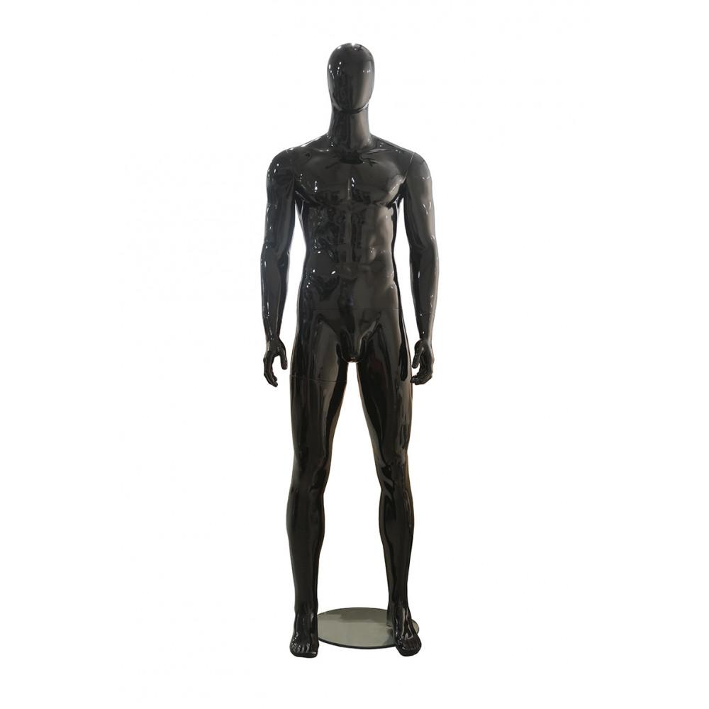 Манекен чоловічий чорний глянець безликий, MMG-3